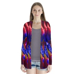 Pink Blue And Red Globe Drape Collar Cardigan