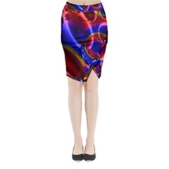 Pink Blue And Red Globe Midi Wrap Pencil Skirt