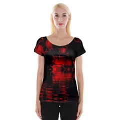 Red And Black Lake Fractal Women s Cap Sleeve Top
