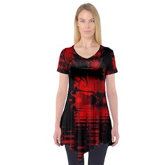 Red And Black Lake Fractal Short Sleeve Tunic