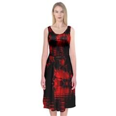 Red And Black Lake Fractal Midi Sleeveless Dress