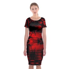 Red And Black Lake Fractal Classic Short Sleeve Midi Dress