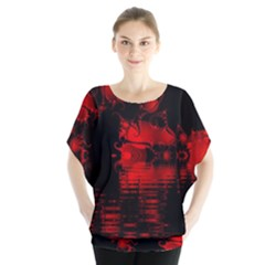 Red And Black Lake Fractal Blouse