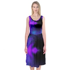 Purple And Blue Lake Fractal Midi Sleeveless Dress