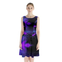 Purple And Blue Lake Fractal Sleeveless Chiffon Waist Tie Dress