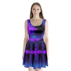 Purple And Blue Lake Fractal Split Back Mini Dress