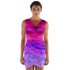 Pink And Blue Water Wrap Front Bodycon Dress