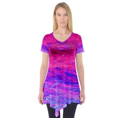 Pink And Blue Water Short Sleeve Tunic