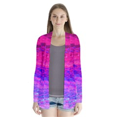 Pink And Blue Water Drape Collar Cardigan