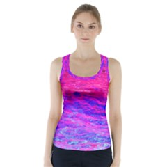 Pink And Blue Water Racer Back Sports Top