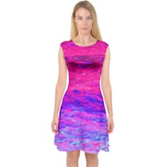 Pink And Blue Water Capsleeve Midi Dress