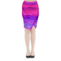 Pink And Blue Water Midi Wrap Pencil Skirt
