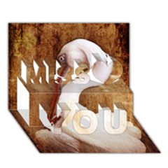 920-PELICAN Miss You 3D Greeting Card (7x5)