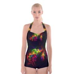 Bright Multi Coloured Fractal Pattern Boyleg Halter Swimsuit