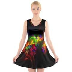 Bright Multi Coloured Fractal Pattern V Neck Sleeveless Skater Dress
