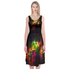 Bright Multi Coloured Fractal Pattern Midi Sleeveless Dress