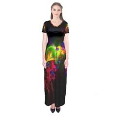 Bright Multi Coloured Fractal Pattern Short Sleeve Maxi Dress
