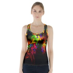 Bright Multi Coloured Fractal Pattern Racer Back Sports Top