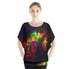 Bright Multi Coloured Fractal Pattern Blouse