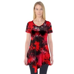 Black And Red Pattern Short Sleeve Tunic