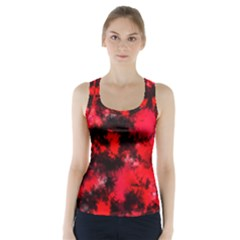 Black And Red Pattern Racer Back Sports Top