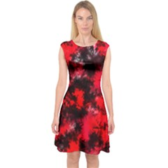 Black And Red Pattern Capsleeve Midi Dress