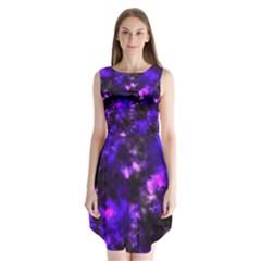 Black And Purple Pattern Sleeveless Chiffon Dress