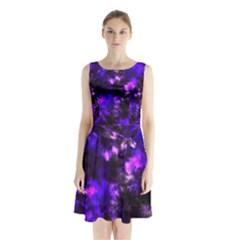 Black And Purple Pattern Sleeveless Chiffon Waist Tie Dress