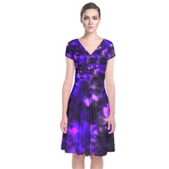 Black And Purple Pattern Short Sleeve Front Wrap Dress