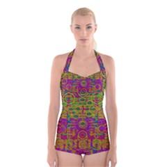 Carpe Diem In Rainbows Boyleg Halter Swimsuit