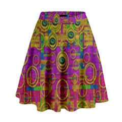Carpe Diem In Rainbows High Waist Skirt