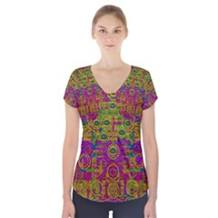 Carpe Diem In Rainbows Short Sleeve Front Detail Top