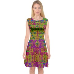 Carpe Diem In Rainbows Capsleeve Midi Dress