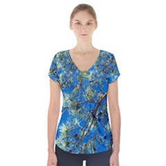 Scots Pine Short Sleeve Front Detail Top