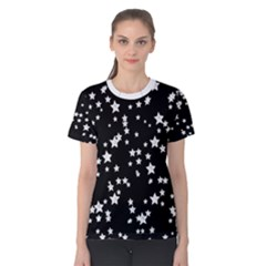 Black And White Starry Pattern Women s Cotton Tee