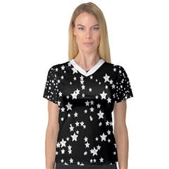 Black and White Starry Pattern Women s V-Neck Sport Mesh Tee