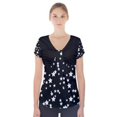 Black And White Starry Pattern Short Sleeve Front Detail Top