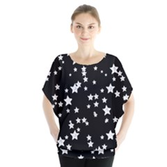 Black And White Starry Pattern Batwing Chiffon Blouse