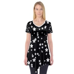 Black And White Starry Pattern Short Sleeve Tunic