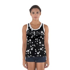 Black And White Starry Pattern Women s Sport Tank Top