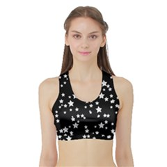 Black And White Starry Pattern Sports Bra With Border