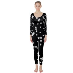 Black And White Starry Pattern Long Sleeve Catsuit