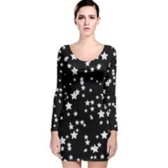 Black And White Starry Pattern Long Sleeve Velvet Bodycon Dress
