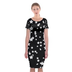 Black And White Starry Pattern Classic Short Sleeve Midi Dress