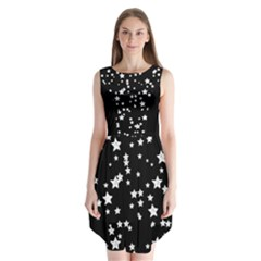 Black And White Starry Pattern Sleeveless Chiffon Dress