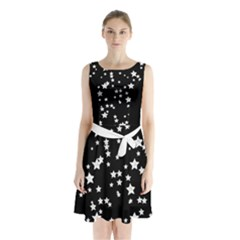 Black And White Starry Pattern Sleeveless Chiffon Waist Tie Dress