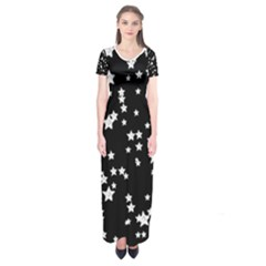 Black And White Starry Pattern Short Sleeve Maxi Dress