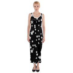 Black And White Starry Pattern Fitted Maxi Dress