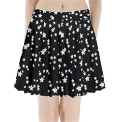 Black And White Starry Pattern Pleated Mini Skirt