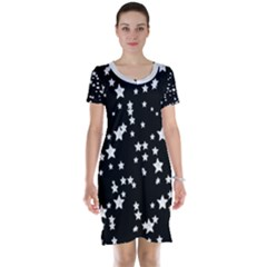 Black and White Starry Pattern Short Sleeve Nightdress